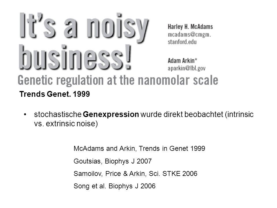 stochastische Genexpression wurde direkt beobachtet (intrinsic vs. extrinsic noise) McAdams and Arkin, Trends in Genet 1999 Goutsias, Biophys J 2007 S