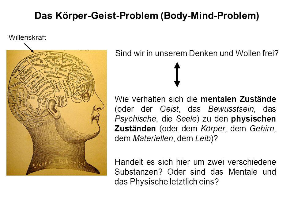 Das Körper-Geist-Problem (Body-Mind-Problem) Wie verhalten sich die mentalen Zustände (oder der Geist, das Bewusstsein, das Psychische, die Seele) zu