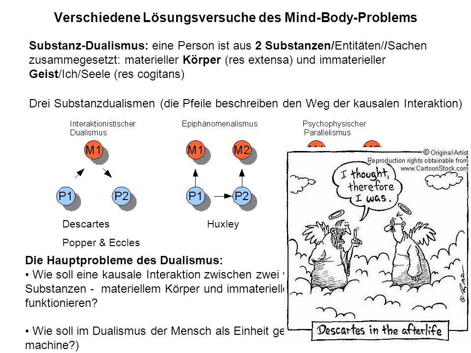 Verschiedene Lösungsversuche des Mind-Body-Problems Drei Substanzdualismen (die Pfeile beschreiben den Weg der kausalen Interaktion) Die Hauptprobleme
