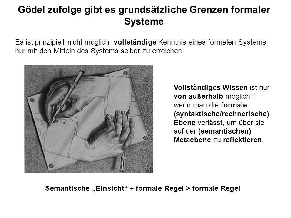 Gödel zufolge gibt es grundsätzliche Grenzen formaler Systeme Es ist prinzipiell nicht möglich vollständige Kenntnis eines formalen Systems nur mit de