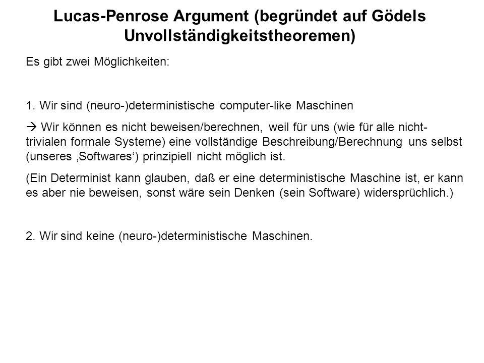Lucas-Penrose Argument (begründet auf Gödels Unvollständigkeitstheoremen) Es gibt zwei Möglichkeiten: 1. Wir sind (neuro-)deterministische computer-li