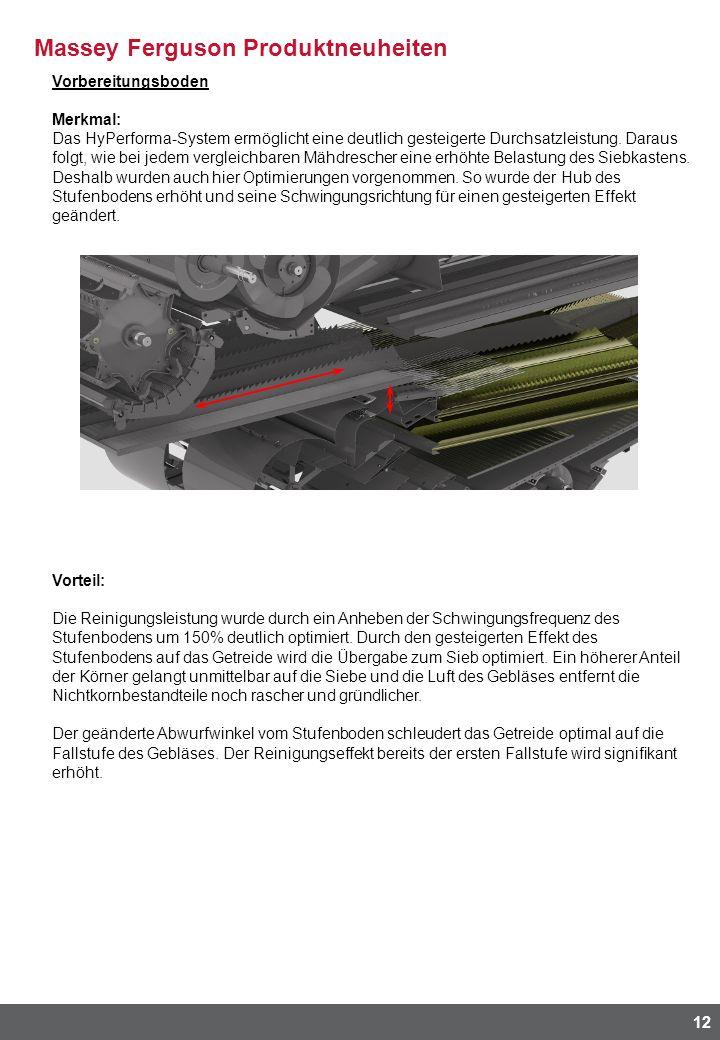 Massey Ferguson Produktneuheiten 12 Vorbereitungsboden Merkmal: Das HyPerforma-System ermöglicht eine deutlich gesteigerte Durchsatzleistung. Daraus f