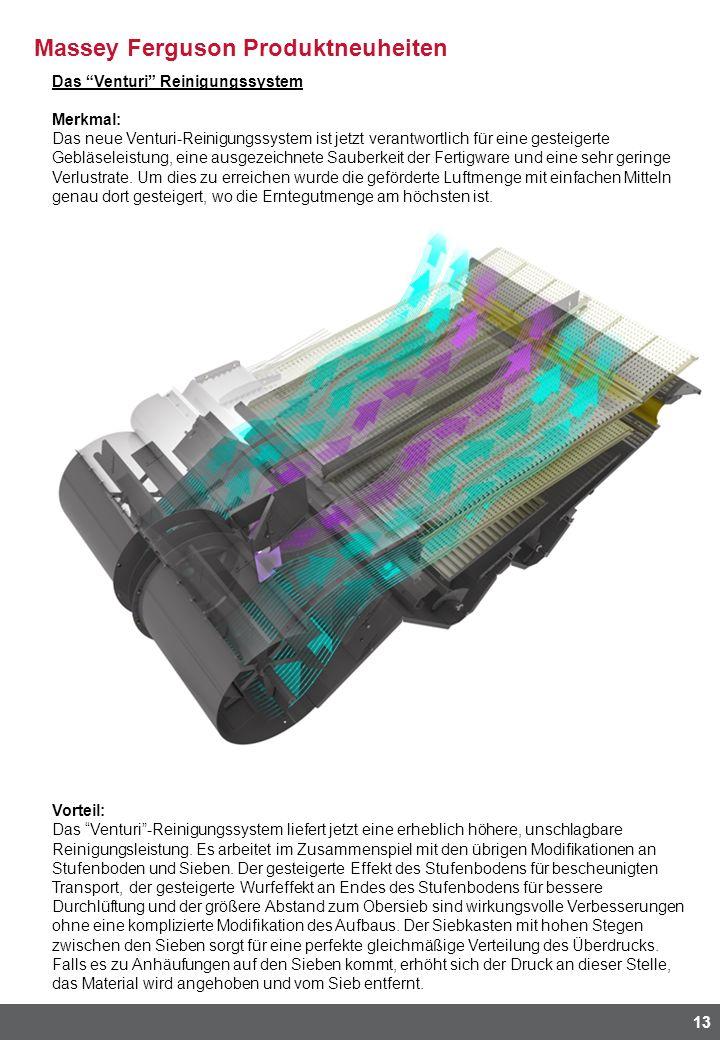 Massey Ferguson Produktneuheiten 13 Das Venturi Reinigungssystem Merkmal: Das neue Venturi-Reinigungssystem ist jetzt verantwortlich für eine gesteigerte Gebläseleistung, eine ausgezeichnete Sauberkeit der Fertigware und eine sehr geringe Verlustrate.