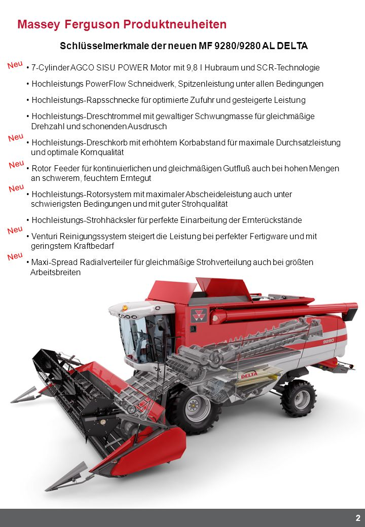 Massey Ferguson Produktneuheiten 2 Schlüsselmerkmale der neuen MF 9280/9280 AL DELTA 7-Cylinder AGCO SISU POWER Motor mit 9,8 l Hubraum und SCR-Techno