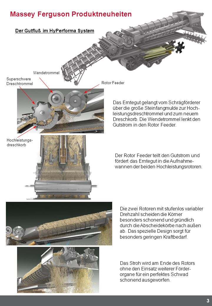 Massey Ferguson Produktneuheiten 3 Der Gutfluß im HyPerforma System Das Erntegut gelangt vom Schrägförderer über die große Steinfangmulde zur Hoch- le