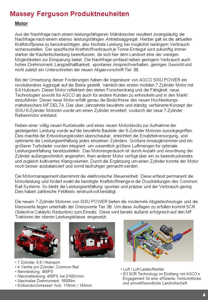 Massey Ferguson Produktneuheiten 4 Motor Aus der Nachfrage nach einem leistungsfähigeren Mähdrescher resultiert zwangsläufig die Nachfrage nach einem ebenso leistungsfähigen Antriebsaggregat.