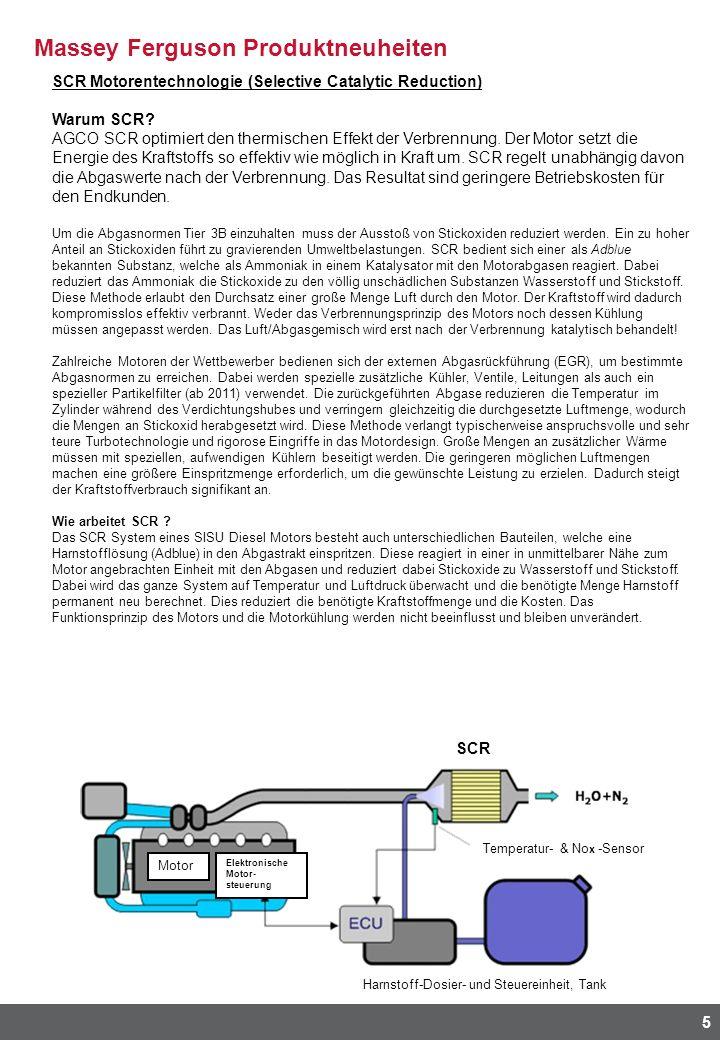 Massey Ferguson Produktneuheiten 5 SCR Motorentechnologie (Selective Catalytic Reduction) Warum SCR? AGCO SCR optimiert den thermischen Effekt der Ver