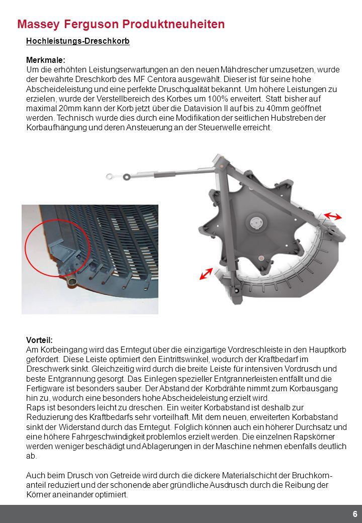 Massey Ferguson Produktneuheiten 6 Hochleistungs-Dreschkorb Merkmale: Um die erhöhten Leistungserwartungen an den neuen Mähdrescher umzusetzen, wurde
