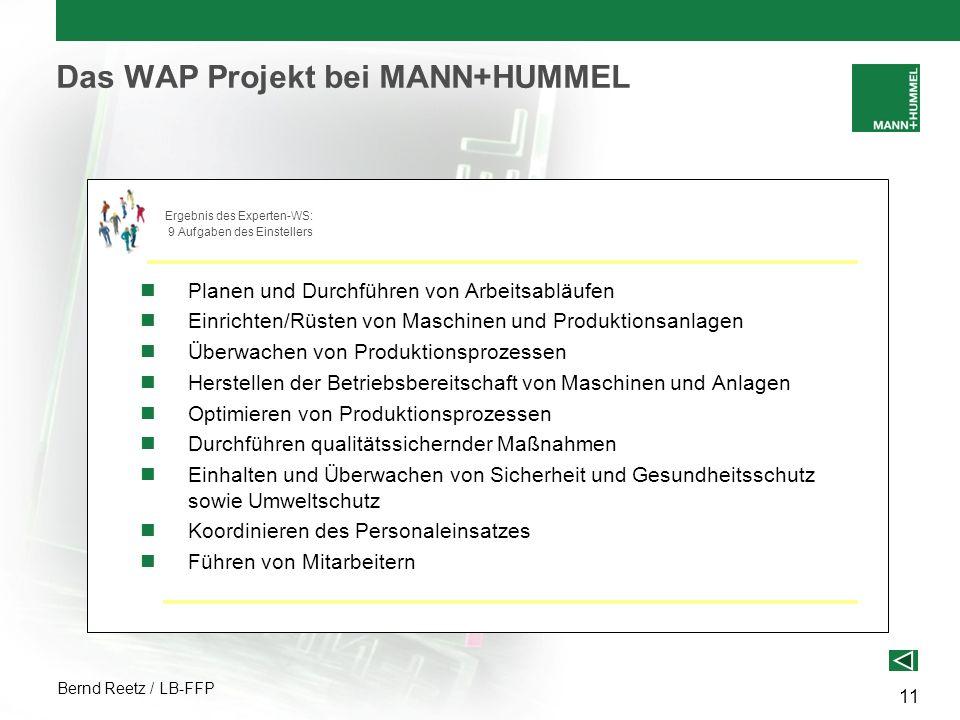 Bernd Reetz / LB-FFP 11 Das WAP Projekt bei MANN+HUMMEL Planen und Durchführen von Arbeitsabläufen Einrichten/Rüsten von Maschinen und Produktionsanla