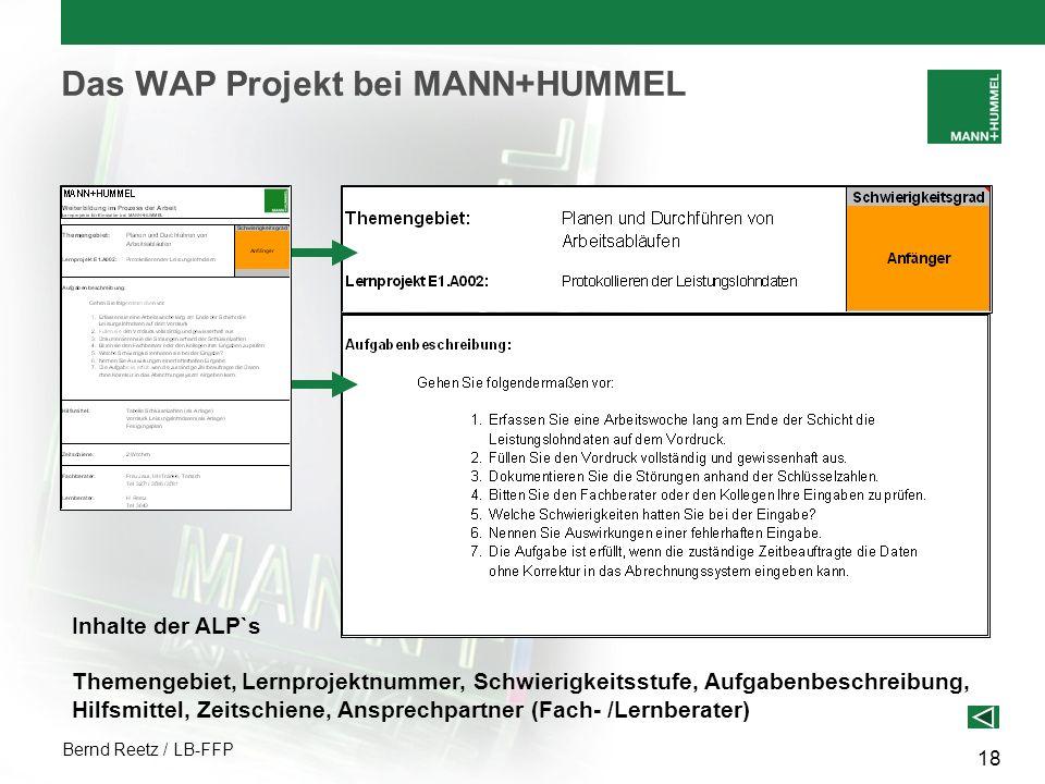 Bernd Reetz / LB-FFP 18 Das WAP Projekt bei MANN+HUMMEL Inhalte der ALP`s Themengebiet, Lernprojektnummer, Schwierigkeitsstufe, Aufgabenbeschreibung,