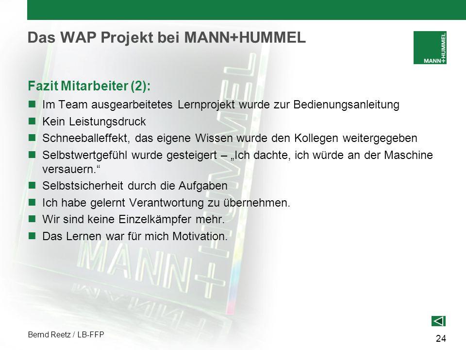 Bernd Reetz / LB-FFP 24 Das WAP Projekt bei MANN+HUMMEL Fazit Mitarbeiter (2): Im Team ausgearbeitetes Lernprojekt wurde zur Bedienungsanleitung Kein