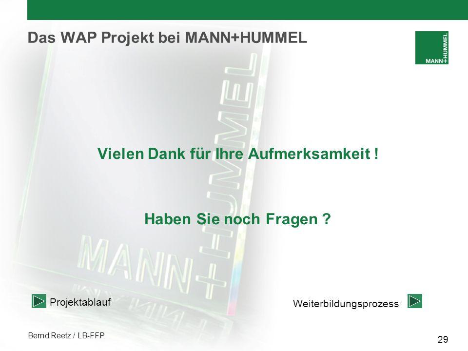 Bernd Reetz / LB-FFP 29 Das WAP Projekt bei MANN+HUMMEL Vielen Dank für Ihre Aufmerksamkeit ! Haben Sie noch Fragen ? Weiterbildungsprozess Projektabl