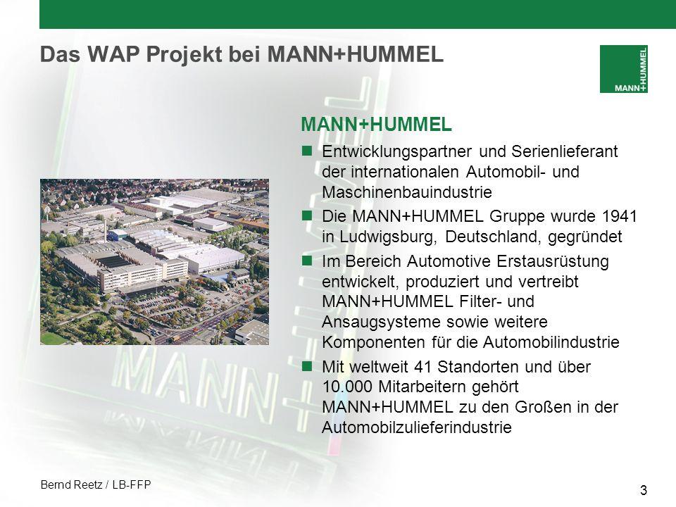 Bernd Reetz / LB-FFP 4 Das WAP Projekt bei MANN+HUMMEL Unternehmensbereich Erstausrüstung Automotive Luft- und Flüssigkeitsfiltersysteme Saugsysteme weitere wichtige Teilsysteme und Komponenten am und um den Motor