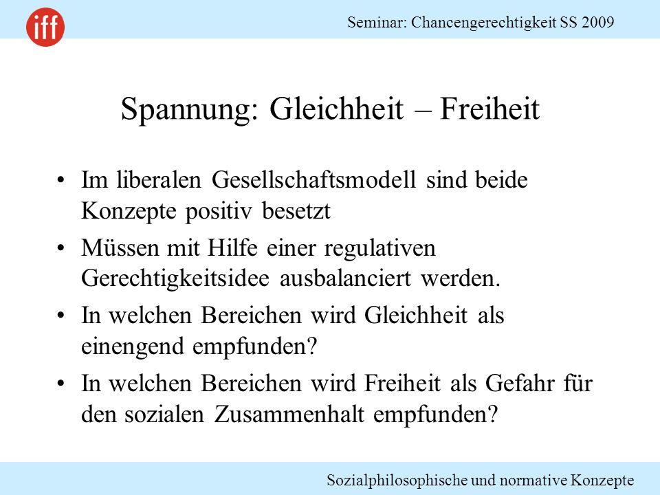 Sozialphilosophische und normative Konzepte Seminar: Chancengerechtigkeit SS 2009 Spannung: Gleichheit – Freiheit Im liberalen Gesellschaftsmodell sin