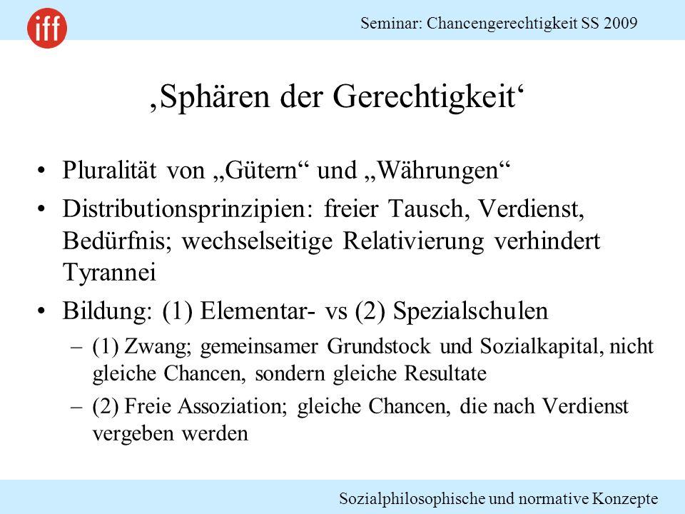 Sozialphilosophische und normative Konzepte Seminar: Chancengerechtigkeit SS 2009 Sphären der Gerechtigkeit Pluralität von Gütern und Währungen Distri
