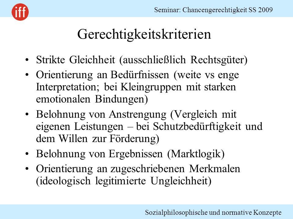 Sozialphilosophische und normative Konzepte Seminar: Chancengerechtigkeit SS 2009 Gerechtigkeitskriterien Strikte Gleichheit (ausschließlich Rechtsgüt