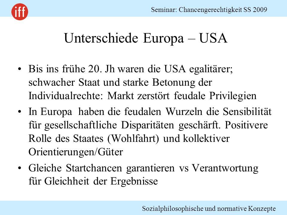 Sozialphilosophische und normative Konzepte Seminar: Chancengerechtigkeit SS 2009 Unterschiede Europa – USA Bis ins frühe 20. Jh waren die USA egalitä