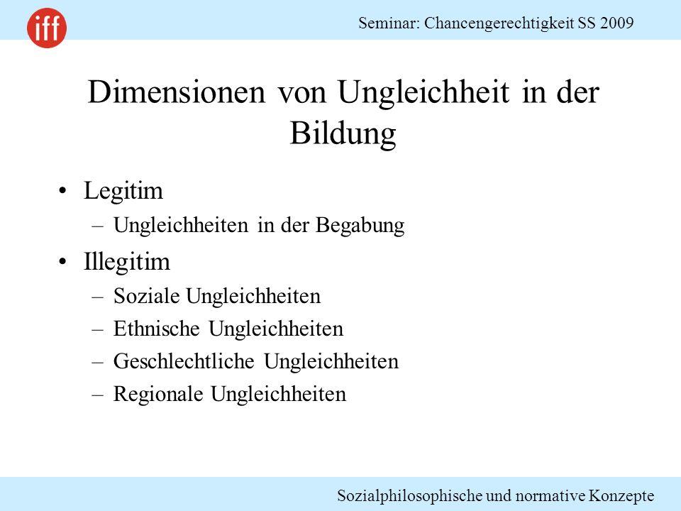 Sozialphilosophische und normative Konzepte Seminar: Chancengerechtigkeit SS 2009 Dimensionen von Ungleichheit in der Bildung Legitim –Ungleichheiten