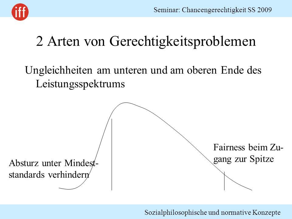 Sozialphilosophische und normative Konzepte Seminar: Chancengerechtigkeit SS 2009 2 Arten von Gerechtigkeitsproblemen Ungleichheiten am unteren und am