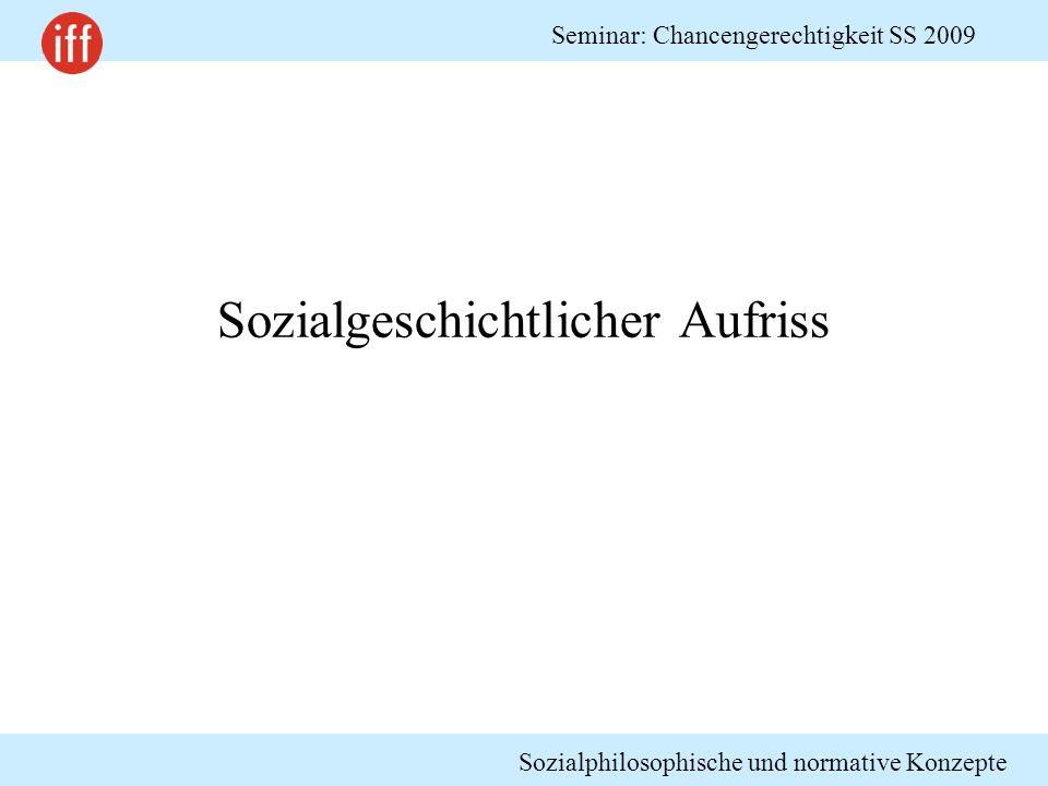 Sozialphilosophische und normative Konzepte Seminar: Chancengerechtigkeit SS 2009 Soziale Schichtung der westdeutschen Bevölkerung 2000 Quelle: Geissler 2005