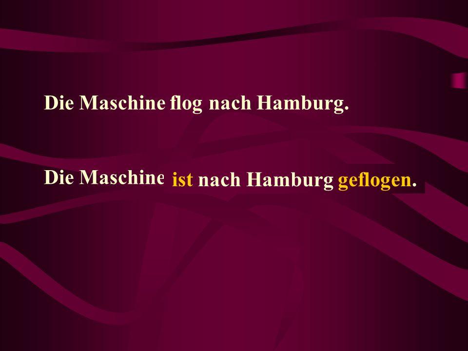 Die Maschine flog nach Hamburg. Die Maschine.......... ist nach Hamburg geflogen.
