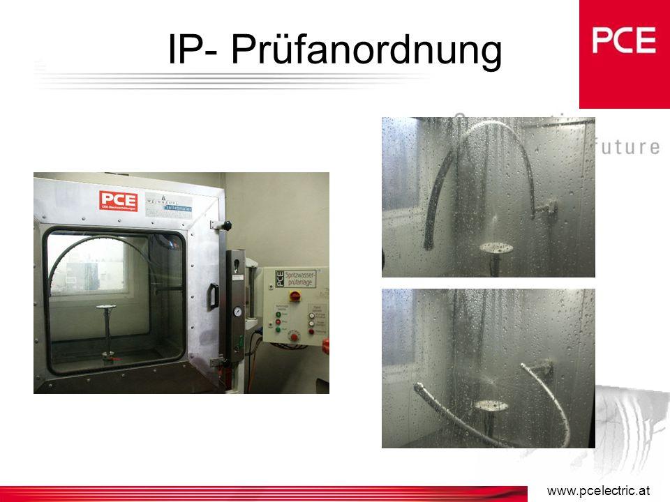 www.pcelectric.at IP - Schutzarten CEE-Steckvorrichtungen mit Bemessungsströmen 16A, 32A entsprechen Schutzart IP44 (spritzwassergeschützt) oder IP67 (wasserdicht).