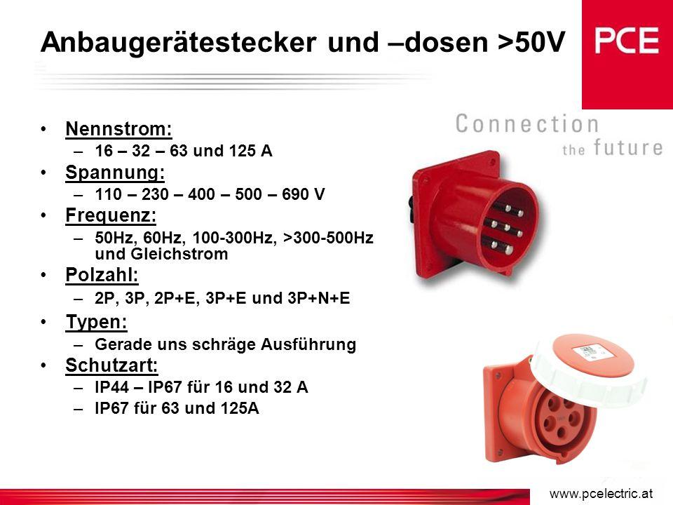 www.pcelectric.at Wandgerätestecker und –dosen >50V Nennstrom: –16 – 32 – 63 und 125 A Spannung: –110 – 230 – 400 – 500 – 690 V Frequenz: –50Hz, 60Hz, 100-300Hz, >300-500Hz und Gleichstrom Polzahl: –2P, 3P, 2P+E, 3P+E und 3P+N+E Typen: –Eingang: oben und bodenseitig –Option: durchschleifbar Schutzart: –IP44 – IP67 für 16 und 32 A –IP67 für 63 und 125A