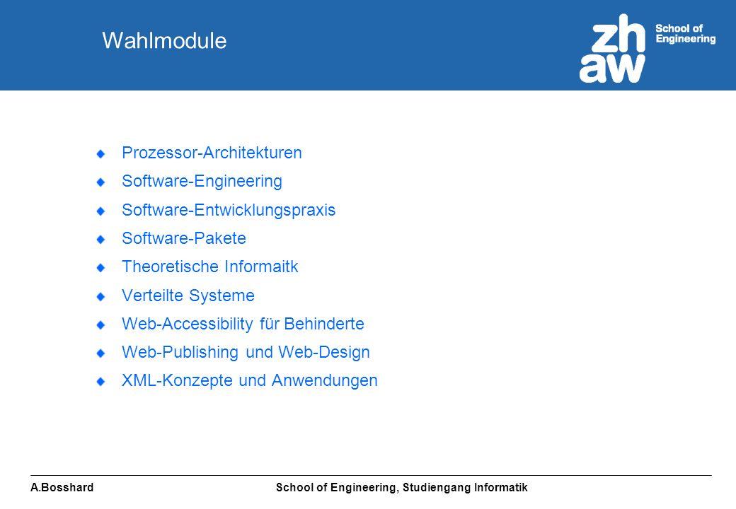 A.Bosshard School of Engineering, Studiengang Informatik Prozessor-Architekturen Software-Engineering Software-Entwicklungspraxis Software-Pakete Theoretische Informaitk Verteilte Systeme Web-Accessibility für Behinderte Web-Publishing und Web-Design XML-Konzepte und Anwendungen Wahlmodule