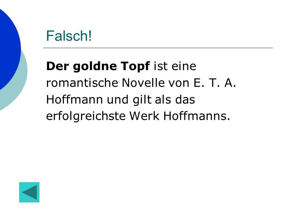 Falsch.Der goldne Topf ist eine romantische Novelle von E.