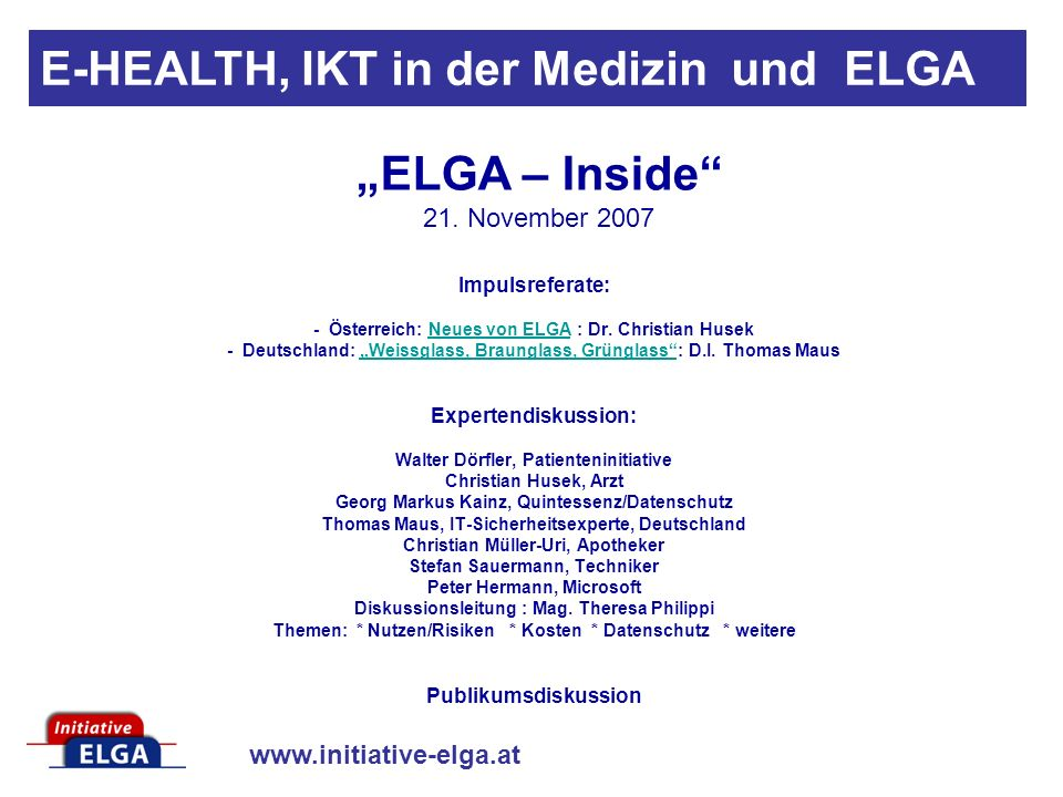 www.initiative-elga.at Von der Hollerith - Maschine zu ELGA Dr.