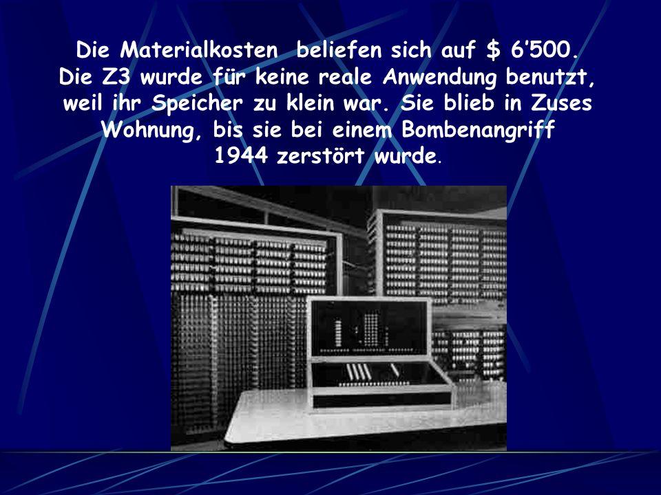 Die Z3 beherrschte neben den vier Grundrechenarten noch andere Rechenarten, zum Beispiel das Wurzelziehen. Eine Multiplikation dauerte 4-5 Sekunden. S