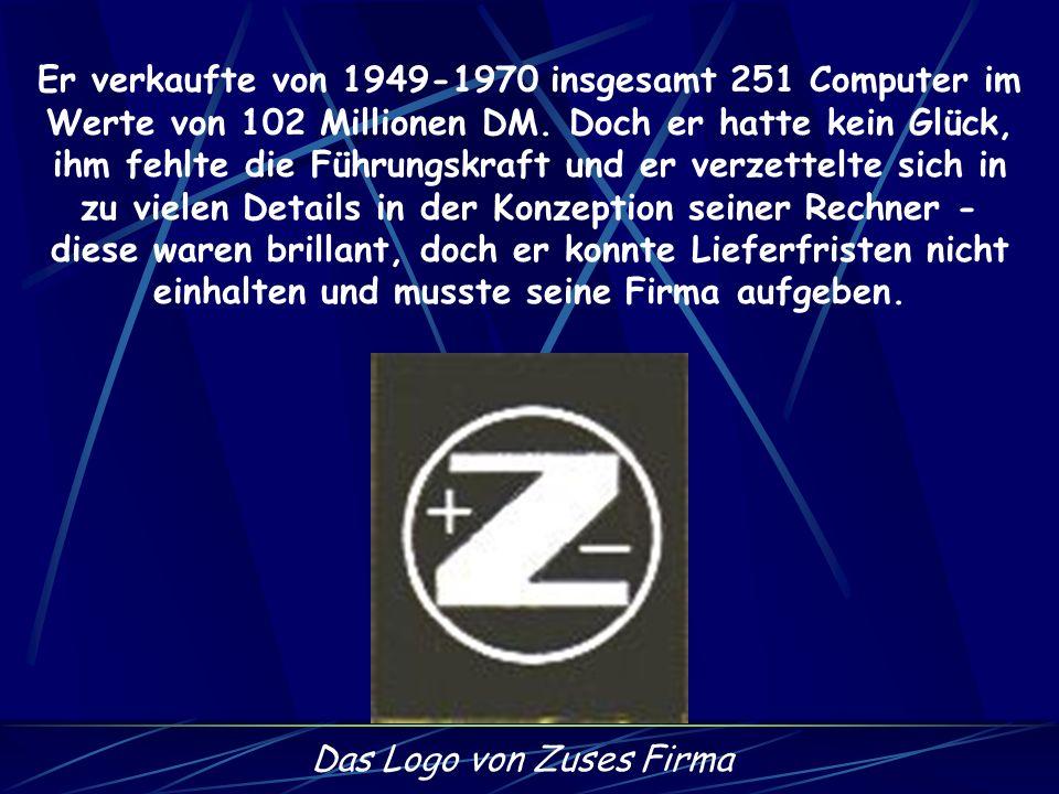 Nach seinen Rechnern arbeitete Zuse am Plankalkül - der ersten höheren Programmiersprache der Welt die 1945/1946 entstand. Danach machte er sich selbs