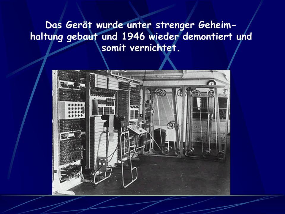 Die Colossus bestand aus 2500 Röhren. 5000 Zeichen pro Sekunde konnten von der Maschine verarbeitet werden. Sie hatte einen Stromverbrauch von 4,5 kW/