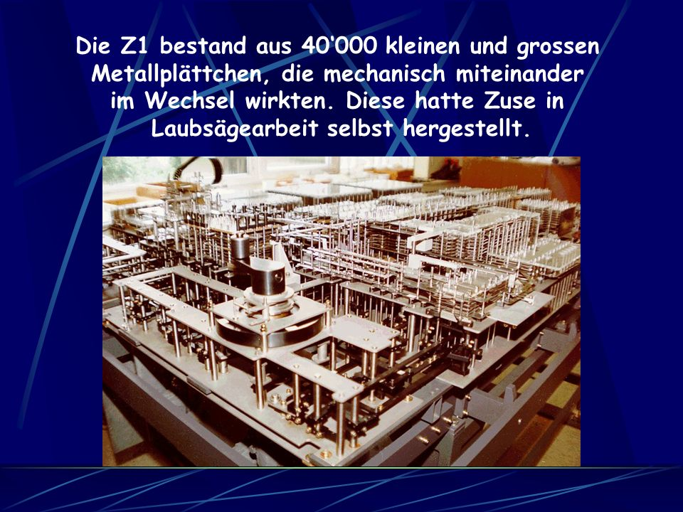 Der elektronische Arbeitsspeicher war entweder, ein mit Quecksilber gefüllter Laufzeit- Verzögerungsspeicher, oder Metallscheiben, welche mit magnetisierbaren Oberflächen überzogen waren.