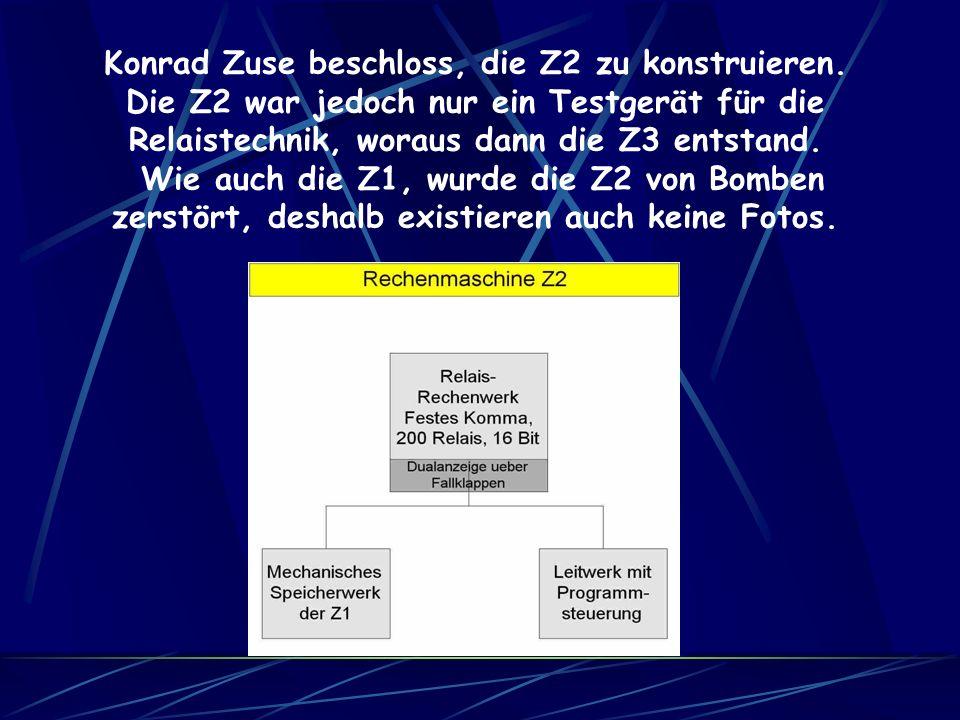 Konrad Zuse beschloss, die Z2 zu konstruieren.