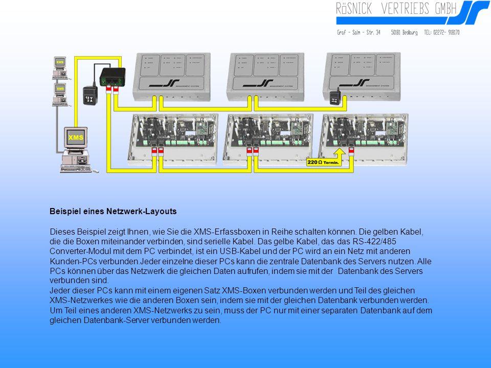Beispiel eines Netzwerk-Layouts Dieses Beispiel zeigt Ihnen, wie Sie die XMS-Erfassboxen in Reihe schalten können.