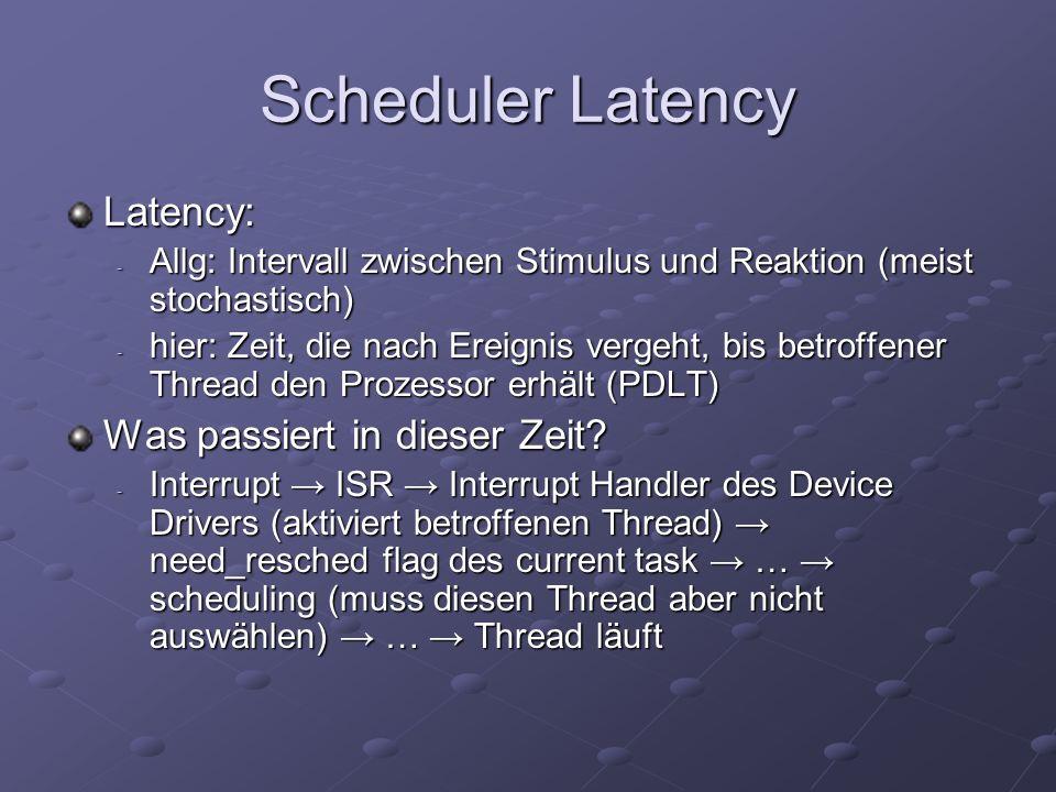 Möglichkeit I: RTLinux Läuft außerhalb vom eigentlichen Kernel - ist eigenständiges RT OS - Linux als niedrigst-priorer RT-Task Besitzt das System und kann auf Ereignisse nahezu sofort reagieren Software emuliert Interrupt Controller transparent für Linux (Virtuelle Maschine) Nachteile: zwei APIs, verbessert nicht die real-time Fähigkeiten von Linux, Overhead