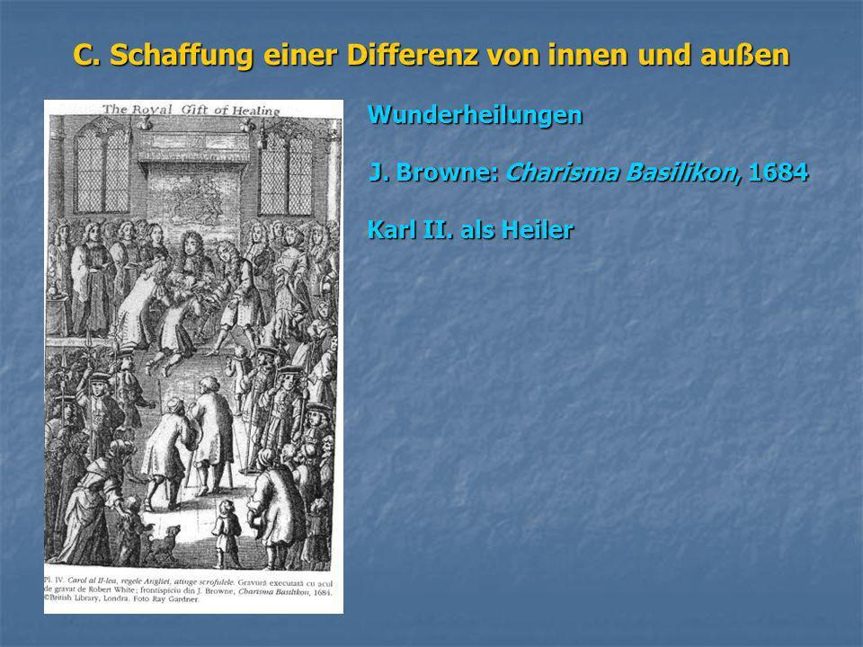 C. Schaffung einer Differenz von innen und außen Wunderheilungen Wunderheilungen J. Browne: Charisma Basilikon, 1684 J. Browne: Charisma Basilikon, 16