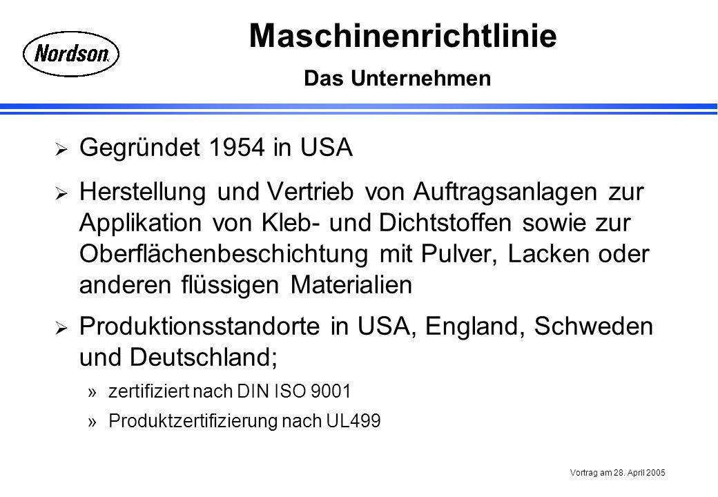 Maschinenrichtlinie Vortrag am 28. April 2005 Das Unternehmen Gegründet 1954 in USA Herstellung und Vertrieb von Auftragsanlagen zur Applikation von K
