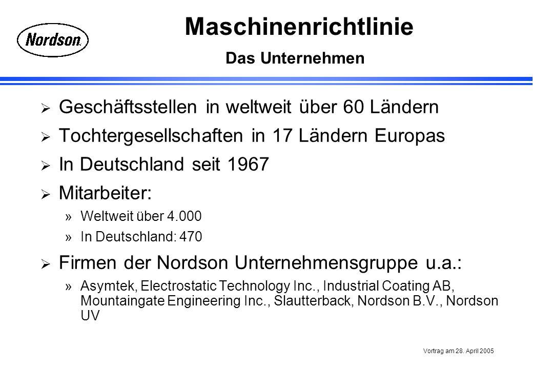 Maschinenrichtlinie Vortrag am 28. April 2005 Das Unternehmen Geschäftsstellen in weltweit über 60 Ländern Tochtergesellschaften in 17 Ländern Europas