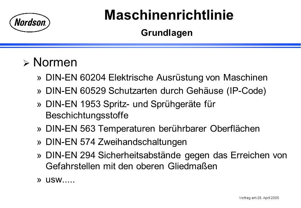 Maschinenrichtlinie Vortrag am 28. April 2005 Grundlagen Normen »DIN-EN 60204 Elektrische Ausrüstung von Maschinen »DIN-EN 60529 Schutzarten durch Geh