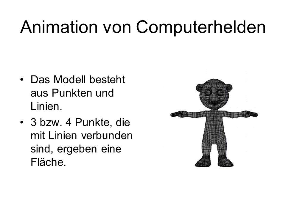 Animation von Computerhelden Das Modell besteht aus Punkten und Linien. 3 bzw. 4 Punkte, die mit Linien verbunden sind, ergeben eine Fläche.