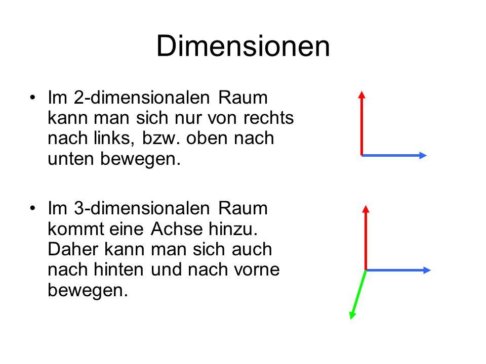 Dimensionen Im 2-dimensionalen Raum kann man sich nur von rechts nach links, bzw. oben nach unten bewegen. Im 3-dimensionalen Raum kommt eine Achse hi