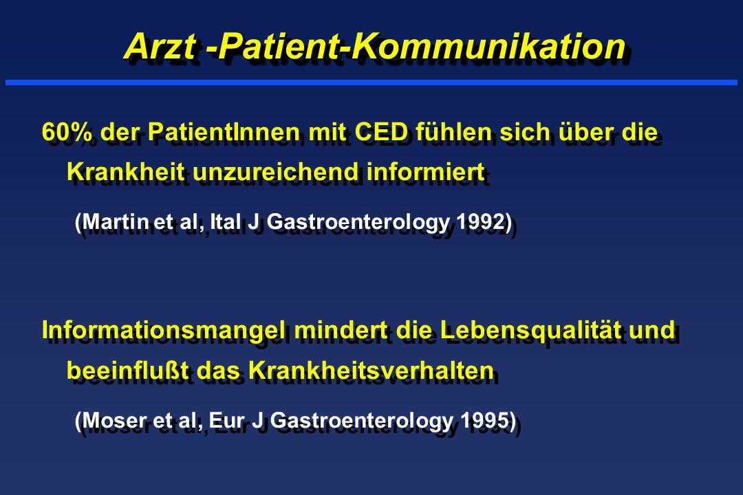 Arzt -Patient-Kommunikation 60% der PatientInnen mit CED fühlen sich über die Krankheit unzureichend informiert (Martin et al, Ital J Gastroenterology