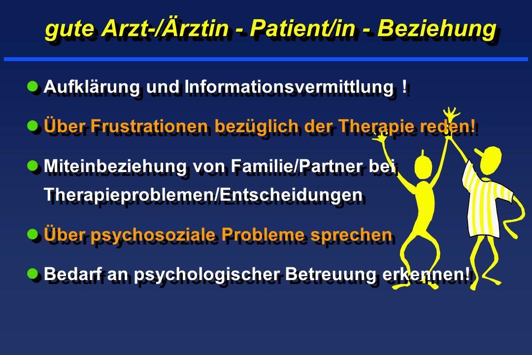 gute Arzt-/Ärztin - Patient/in - Beziehung lAufklärung und Informationsvermittlung ! lÜber Frustrationen bezüglich der Therapie reden! lMiteinbeziehun