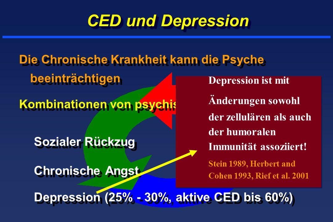 CED und Depression Die Chronische Krankheit kann die Psyche beeinträchtigen Kombinationen von psychischen Störungen Sozialer Rückzug Chronische Angst