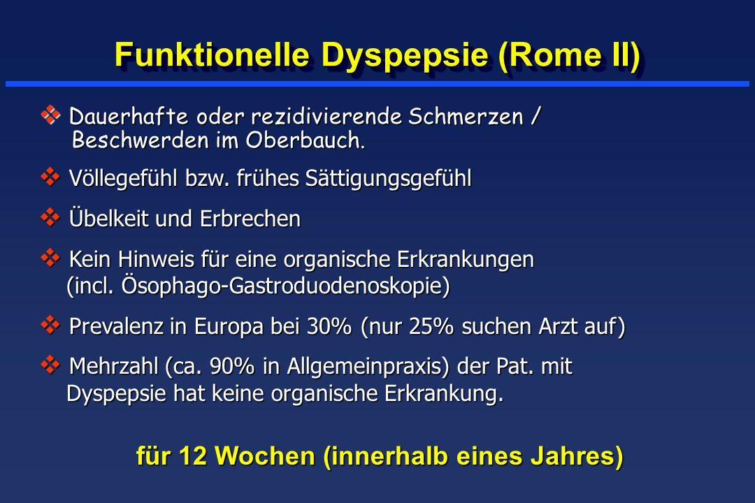 Funktionelle Dyspepsie (Rome II) für 12 Wochen (innerhalb eines Jahres) Dauerhafte oder rezidivierende Schmerzen / Beschwerden im Oberbauch. Dauerhaft