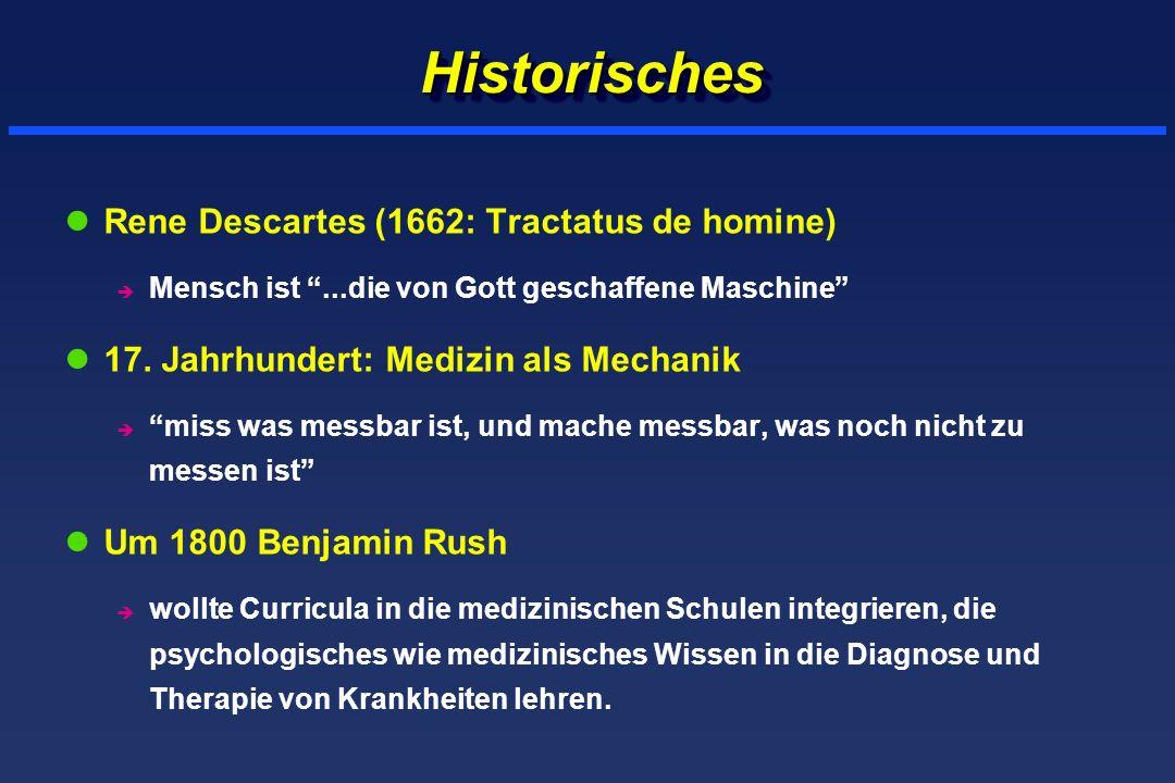 HistorischesHistorisches lRene Descartes (1662: Tractatus de homine) è Mensch ist...die von Gott geschaffene Maschine l17. Jahrhundert: Medizin als Me