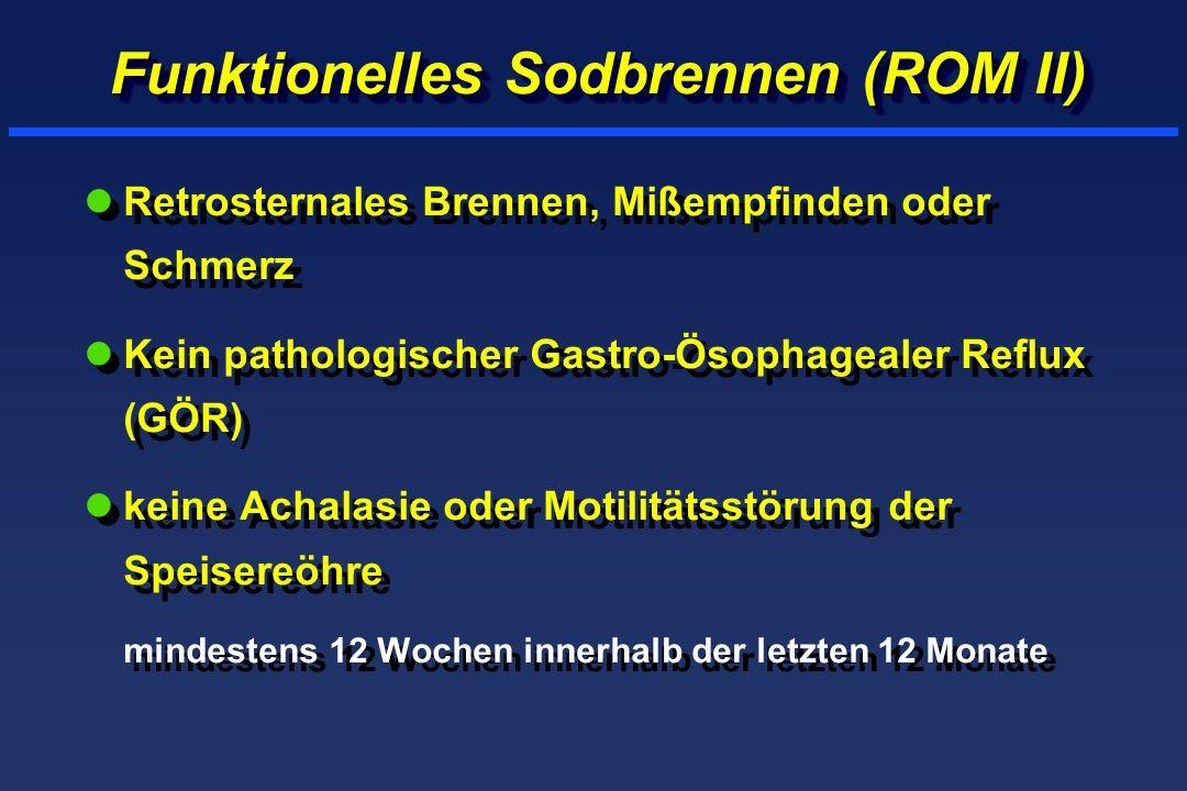 Funktionelles Sodbrennen (ROM II) lRetrosternales Brennen, Mißempfinden oder Schmerz lKein pathologischer Gastro-Ösophagealer Reflux (GÖR) lkeine Achalasie oder Motilitätsstörung der Speisereöhre mindestens 12 Wochen innerhalb der letzten 12 Monate lRetrosternales Brennen, Mißempfinden oder Schmerz lKein pathologischer Gastro-Ösophagealer Reflux (GÖR) lkeine Achalasie oder Motilitätsstörung der Speisereöhre mindestens 12 Wochen innerhalb der letzten 12 Monate