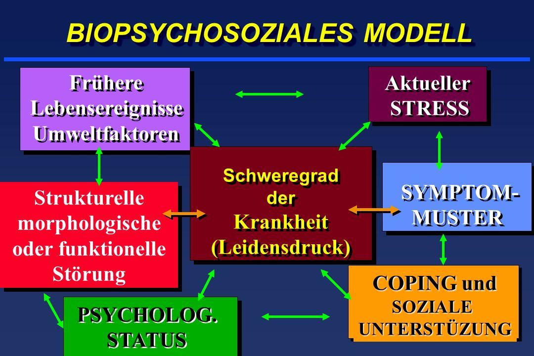 Anhaltender Stress erhöht das Risiko der Colitis-Exazerbation Anteil noch in Remission 1 1 5 5 9 9 Follow-up-Dauer (Monate) Wenig Stress HR = 2.8 (95% CI 1.1, 7.2) Levenstein, Am J Gastro 2000 0 0 0.2 0.4 0.6 0.8 1.0 13 17 21 25 29 33 37 41 45 49 53 57 61 65 69 Viel Stress